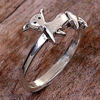 Sterling silver cocktail ring, 'Perky Puppy Dog' - Handcrafted Balinese Sterling Silver Puppy Dog Ring