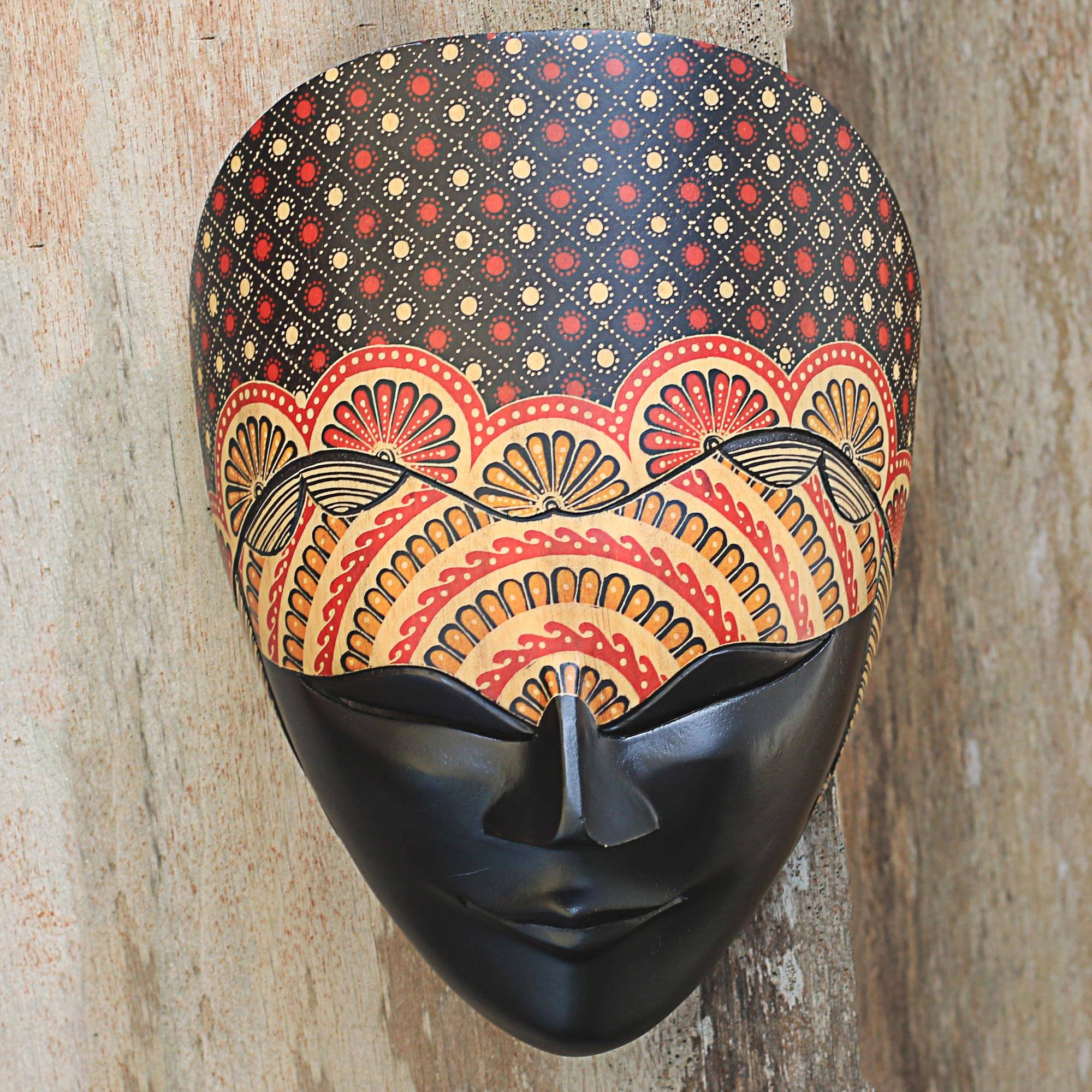 Artisan Crafted Wall Mask Adorned With Batik Flowers On Wood Face Of Beauty And Calmness Novica