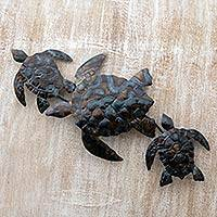 Steel wall art, 'Turtle Frenzy' - Steel Brown and Blue Turtle Motif Wall Art