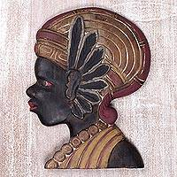 Wood wall panel, 'Papua Lady' - Wood Wall Relief Panel of Papua Woman in Antique Finish