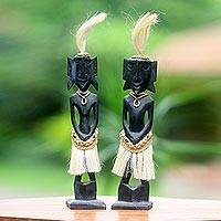 Wood sculptures, 'Amungme Couple' (pair) - 2 Amungme Tribe Sculptures in Hand Carved Wood and Fibers