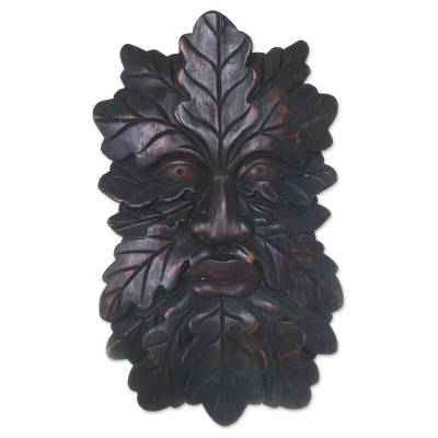 Wood mask, 'Jaka Tarub' - Camouflaged Tree Man Wall Mask from Indonesian Jaka Legend