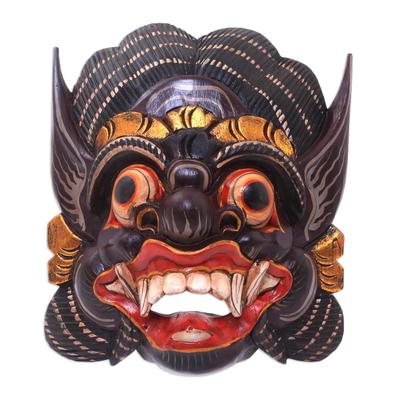 Hand-Carved Wood Mask of Barong from Balinese Mythology