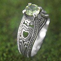 Peridot solitaire ring, 'Heart Splendor' - Hand Made Sterling Silver Peridot Solitaire Ring Indonesia