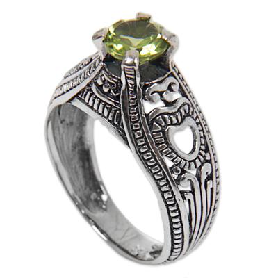 Peridot solitaire ring, 'Heart Splendor' - Hand Made Sterling Silver Peridot Solitaire Ring Indonesia