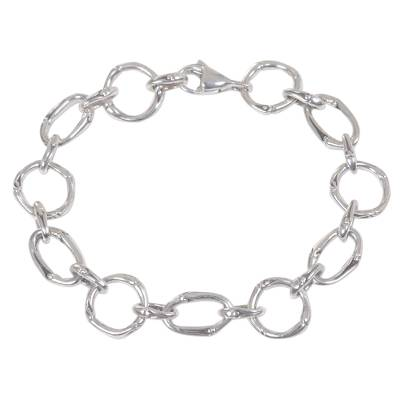 Handcrafted Sterling Silver Engraved Link Bracelet from Bali