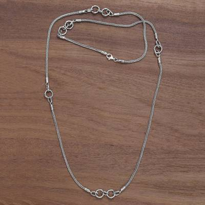 Sterling silver station necklace, 'Bamboo Link' - Sterling Silver Station Necklace Hand Crafted in Indonesia