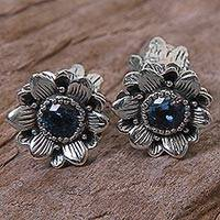 Blue topaz button earrings, 'Blooming Blue' - Blue Topaz Sterling Silver Button Earrings from Indonesia