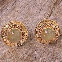 Gold plated rutile quartz button earrings, 'Golden Moon'