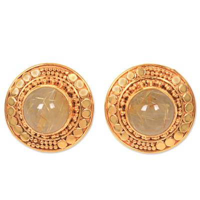 Gold plated rutile quartz button earrings, 'Golden Moon' - Gold Plated Sterling Silver Rutile Quartz Earrings Indonesia