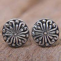 Sterling silver stud earrings, 'Bali Whirlpool' - Sterling Silver Round Stud Earrings from Indonesia