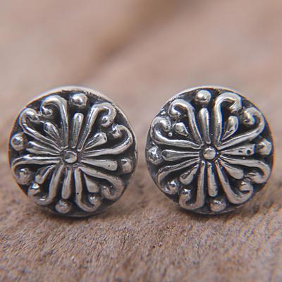 Silver Round Stud Earrings
