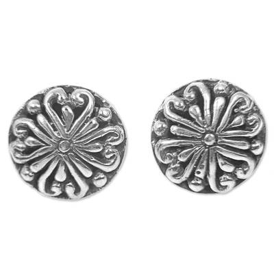 Sterling Silver Round Stud Earrings from Indonesia