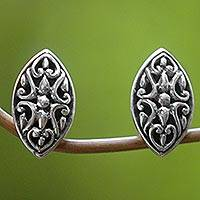 Sterling silver button earrings, 'Floral Shield' - Sterling Silver Oval Button Earrings from Indonesia