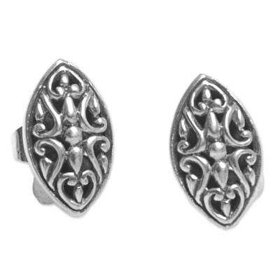Sterling Silver Oval Button Earrings from Indonesia