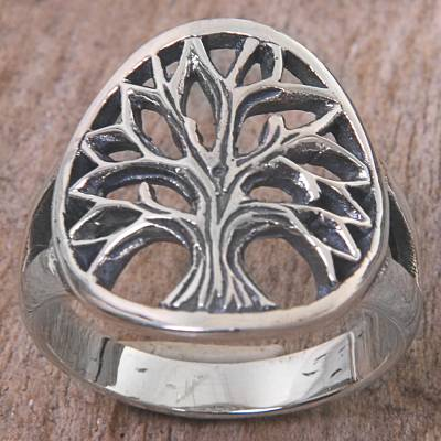Sterling silver cocktail ring, 'Solitary Tree' - Sterling Silver Cocktail Ring Tree Motif from Indonesia