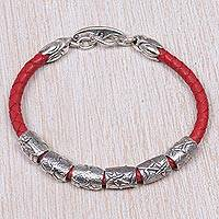 Sterling silver and braided leather wristband bracelet, 'Daisy Dreams in Red'