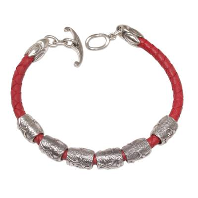 Sterling silver and braided leather wristband bracelet, 'Daisy Dreams in Red' - Sterling Silver and Leather Wristband Bracelet in Red