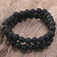 Lava stone stretch bracelets, 'Kintamani Lava' (pair) - Lava Stone Stretch Bracelets (Pair) from Indonesia