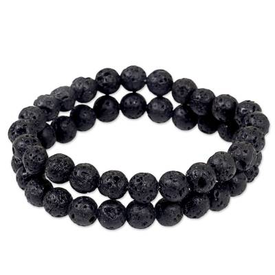 Lava Stone Stretch Bracelets (Pair) from Indonesia