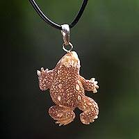 Bone pendant necklace, 'Lone Frog' - Handmade Cowbone Pendant Frog Necklace from Indonesia