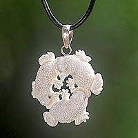 Bone pendant necklace, 'Frog Circle'