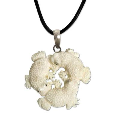 Bone pendant necklace, 'Frog Circle' - Hand Made Bone Pendant Necklace Frogs from Indonesia