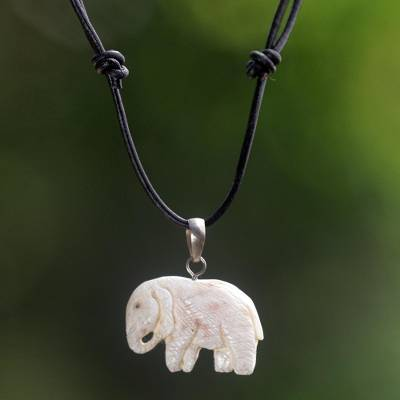 Bone pendant necklace, 'Stoic Elephant' - Hand Made Bone Pendant Necklace Elephant from Indonesia