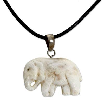 Bone pendant necklace, 'Stoic Elephant' - Hand Made Bone Pendant Necklace Elephant from Indonesia