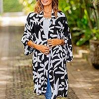 Short rayon robe, 'Moonlit Fern' - Women's Black and White Fern Print Short Rayon Wrap Robe
