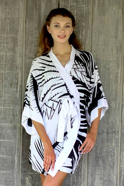 Short rayon robe, 'White Tiger' - Short Black and White Tiger Stripe Print Rayon Wrap Robe