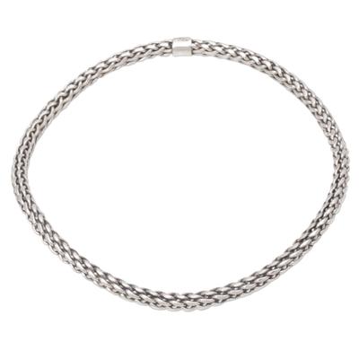 Sterling silver bangle bracelet, 'Unbroken Hope' - Handmade Sterling Silver Bangle Bracelet from Indonesia