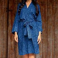 Short rayon batik robe, 'Indigo Garden' - Hand Stamped Batik Flowers on Short Rayon Robe from Bali