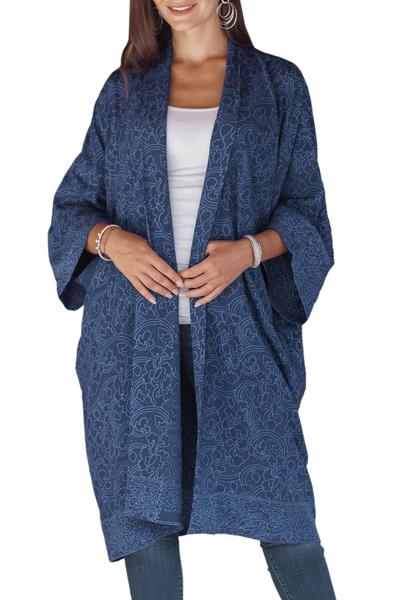 Short rayon batik robe, 'Indigo Garden' - Hand Stamped Batik Flowers on Short Rayon Robe from Bali