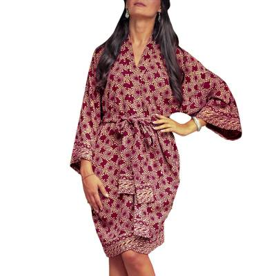 Short rayon batik robe, 'Ruby Red Nebula' - Balinese Hand Stamped Batik on Short Rayon Robe in Red