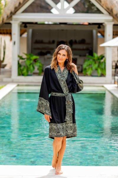 Short rayon batik robe, 'Midnight Rose' - Indonesian Floral Patterned Black and White Short Robe