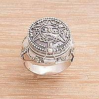 Sterling silver locket ring, 'Sunny Secret' - Sterling Silver Sun-Themed Locket Ring from Bali