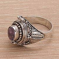 Amethyst locket ring, 'Hidden Gem' - Indonesian Sterling Silver Amethyst Locket Ring from Bali