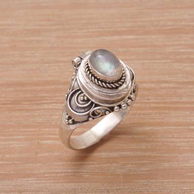 om ring silver necklace ebay - Labradorite and Sterling Silver Locket Ring from Bali