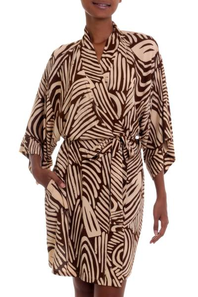 Hand Made Rayon Robe in Mahogany and Buff from Indonesia