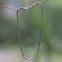 Sterling silver chain necklace, 'Balinese Grace'