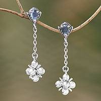Blue topaz dangle earrings, 'Love Explosion'