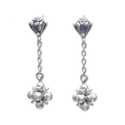 Blue topaz dangle earrings, 'Love Explosion' - Hand Made Blue Topaz Dangle Earrings from Indonesia