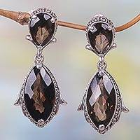 Smoky quartz dangle earrings, 'Distant Smoke' - Hand Made Smoky Quartz Dangle Earrings from Indonesia