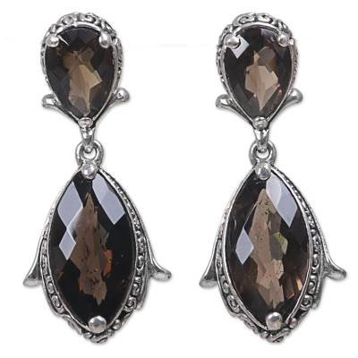 Smoky quartz dangle earrings, 'Distant Smoke' - Hand Made Smoky Quartz Dangle Earrings from Indonesia