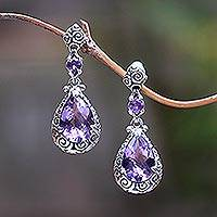 Amethyst dangle earrings, 'Glistening Buddha Curls' - Hand Made Amethyst Dangle Earrings from Indonesia