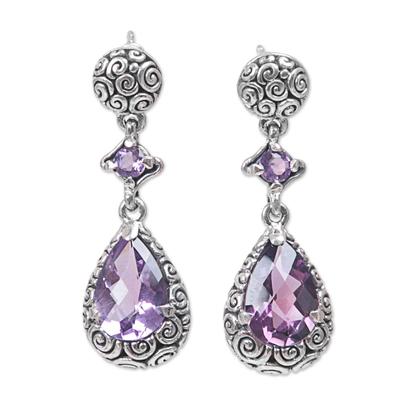 Amethyst dangle earrings, 'Glistening Buddha Curls' - Hand Made Amethyst Dangle Earrings from Indonesia