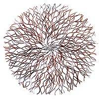 Steel wall art, 'Deep Roots' - Painted Copper and Silver Steel Wall Art with Roots Motif