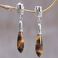 Tiger's eye dangle earrings, 'Brown Wand' - Handmade Tiger's Eye and Sterling Silver Dangle Earrings