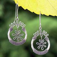 Sterling silver flower earrings, 'Flower Spins' - Sterling silver flower earrings